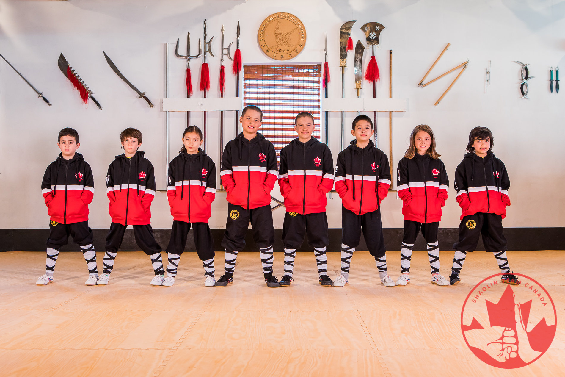 Shaolin Team Canada Children Team Wearing Jackets Supplied by Eagle View International