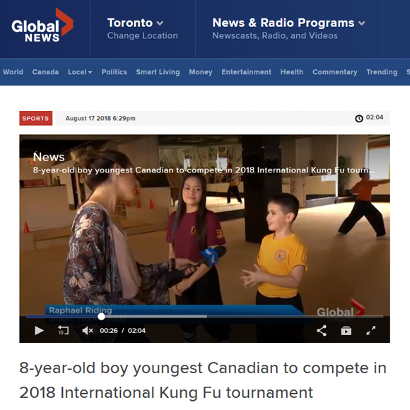 Global News Feature on Shaolin Team Canada